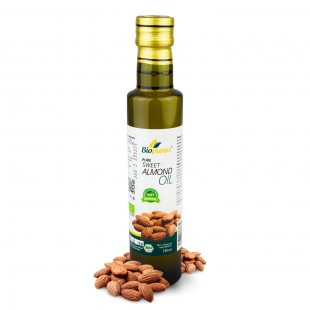 Certified Organic Cold Pressed Sweet Almond Roasted Seed Oil 250ml Biopurus