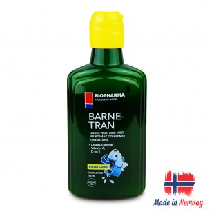 Premium Norwegian Norsk Barne Tran Fish Oil For Children Omega-3 250ml