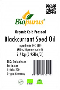 Blackcurrant seed oil, Certified Organic Cold Pressed 2,7kg Biopurus