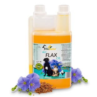Pure Natural Pets Flax Seed Oil For Dogs and Cats BARF 1000ml Biopurus