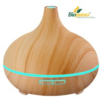 Light Wood Grain Aromatherapy Essential Oil Diffuser with 7 Color 300ml