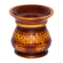Indian Handmade Ceramic Aroma Lamp - Essential Oil Burner for Aromatherapy